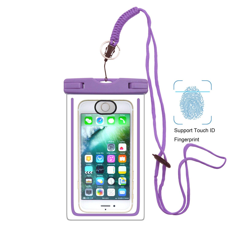 UPhitnis IPX8 Wasserdichte Hülle Tasche Beutel mit Touch-ID, Handyhülle, Staubdichte Hülle für iPhone 8/7/7plus/6/6s/6sPlus/SE/5s/5/5c, Galaxy S8/S7/S7 edge/S6/S6 Edge/S5,Huawei P8 usw bis zu 6 Zoll Handyhülle