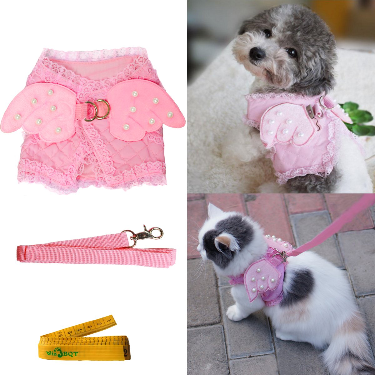 Large Pink Cute Adorable Pet Cat Dog Harness and Leash Set with Lace Artificial Pearl Angel Wing (Large)