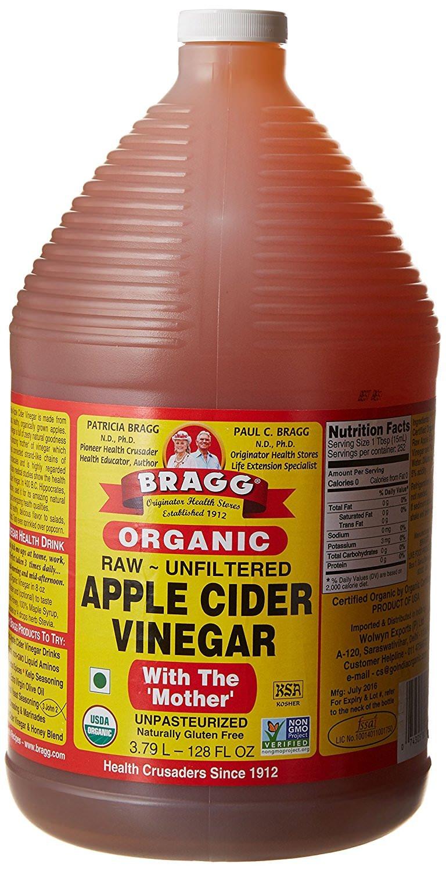 Organic Raw Apple Cider Vinegar Unfiltered Bragg 1 Gal (128oz) Liquid by Bragg