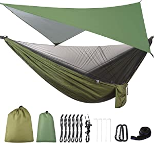 FIRINER Camping Hammock with Mosquito Net & Rainfly Tent Tarp & Tree Straps Portable Large Single & Double Parachute Hammocks Gear for Backpacking Hiking Travel Yard Outdoor Activities