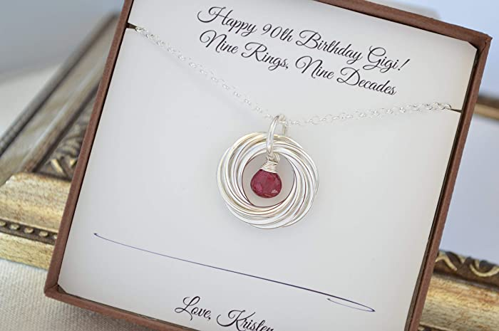 90th Birthday Gift For Mom Ruby Birthstone Necklace 9th Anniversary Women Family Of Nine Grandma Mom9 Interlocking Rings