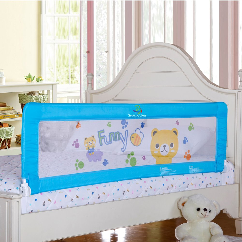 Amazon Baby Bed Rail Children Extra Long Guard Toddler Safety Fold Down Bedrail Stop Falling 70 Inches Blue