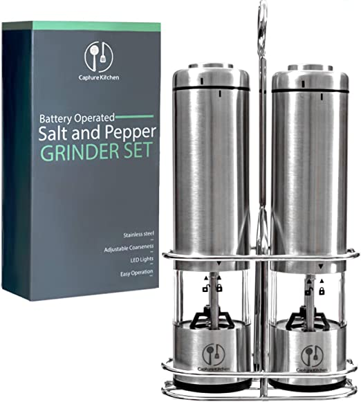 Professional Quality Stainless Steel Mills with Adjustable Ceramic Grinders Battery Powered Burshed Stainless Steel Salt or Pepper Grinder