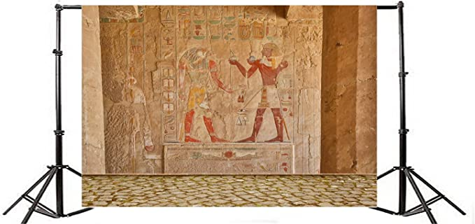 10x6.5ft Egyptian Wall Painting Polyester Photography Background Carve Tomb Hieroglyphs Wall Mural Pharaoh Ancient Art Africa Burial Tradition Heritage Studio Photo Prop Protraits Shoot