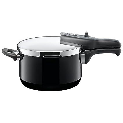 Silit Sicomatic t-plus Schnellkochtopf 4,5l, Silargan Funktionskeramik, 3 Kochstufen Einhand-Kochstufenregler induktionsgeeignet, spülmaschinengeeignet, schwarz, Ø 22 cm