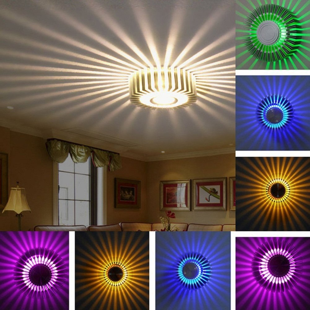 ATD 3W Modern Lighting Decoration Indoor Light Colorful Gradients Sunflower LED Wall Sconce for Home Coffee Shop KTV Karaoke Bar Restaurant