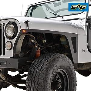 EAG Front Fender with LED Eagle Lights Armor Black Textured Fit for 76-86 Jeep Wrangler CJ