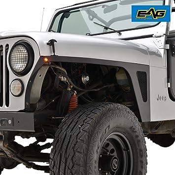 EAG Fender Flares Wide Body Matte Black Flat Style Fit for 59-86 Jeep Wrangler CJ5 CJ6 CJ7