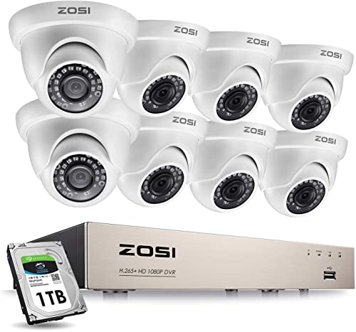 ZOSI 8CH 1080P Security Camera System with Hard Drive 1TB H.265 8 Channel Full True 1080P HD-TVI DVR Recorder and 8pcs 1080P HD Weatherproof CCTV Dome Cameras System, 65ft Night Vision