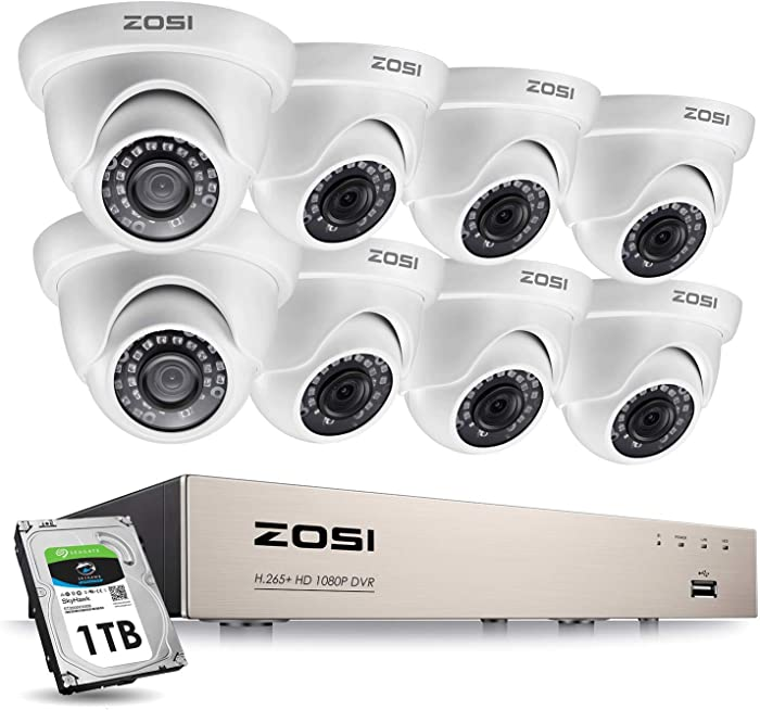 ZOSI 8CH 1080P Security Camera System with Hard Drive 1TB H.265+ 8 Channel Full True 1080P HD-TVI DVR Recorder and 8pcs 1080P HD Weatherproof CCTV Dome Cameras System, 80ft Night Vision