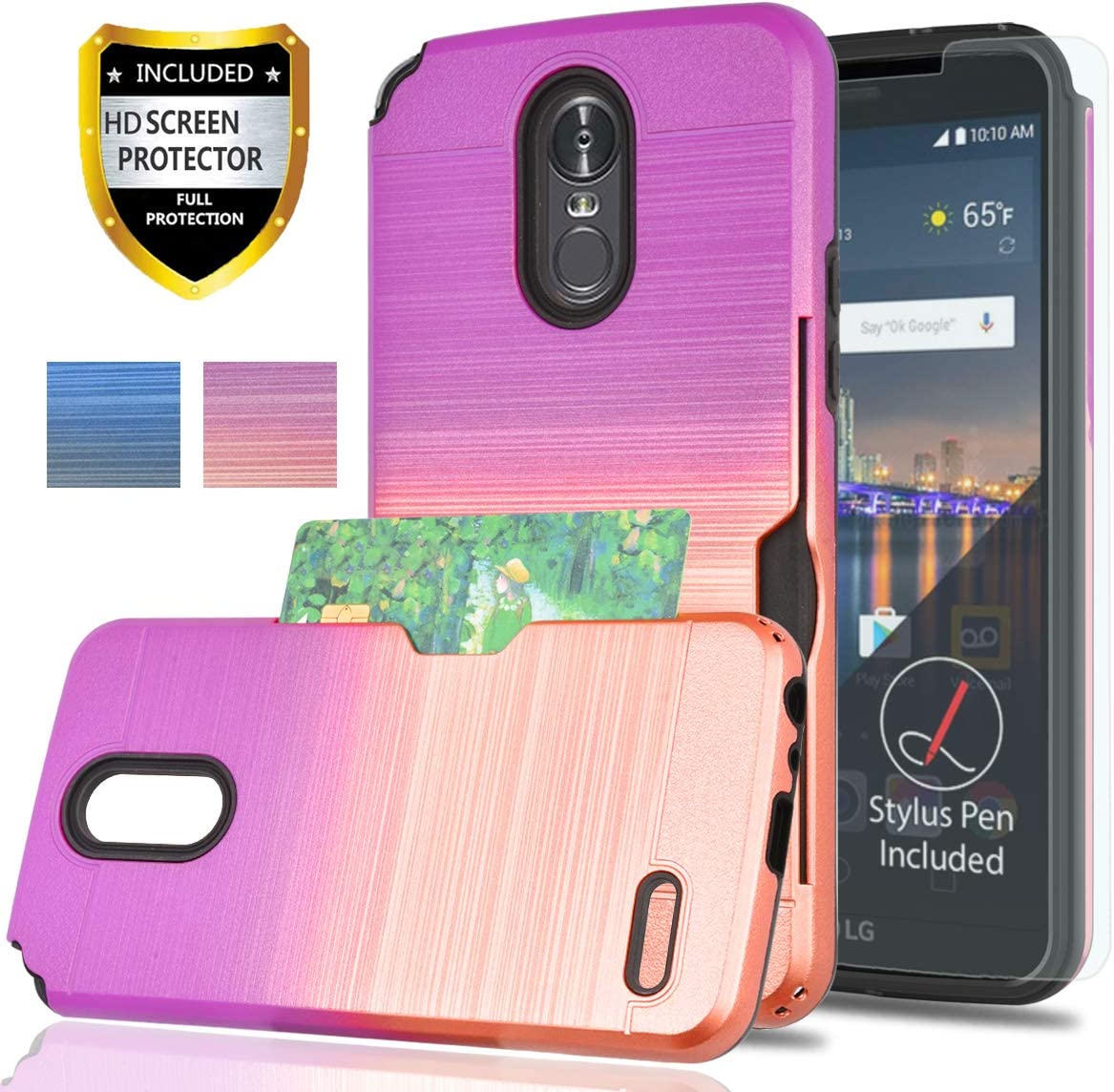 LG Stylo 3 Case, LG Stylo 3 Plus/Stylus 3 Case with Phone Screen Protector,YmhxcY[Credit Card Holder][Not Wallet] Dual Layer Shockproof Protective Cover for LG LS777-GB Rose Gold/Purple