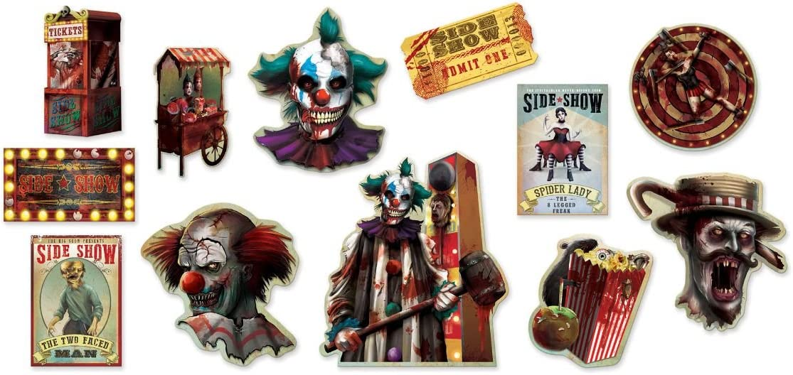 amscan Halloween Side Show | Value Pack Cutouts,Multicolor,14.2