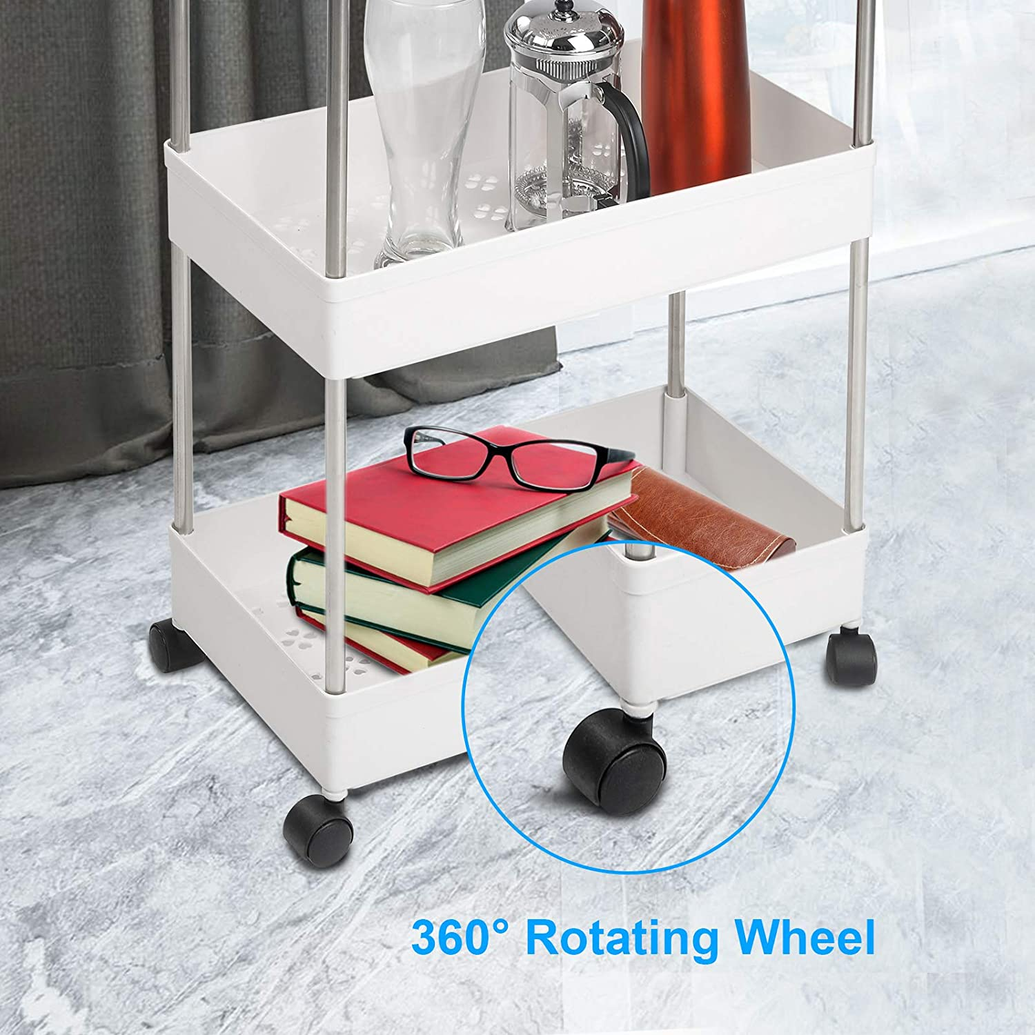 CKATE Storage Trolley Cart White Mobile Storage Rack for Kitchen 4-Tire Slide Out Rolling Storage Trolley with Wheels Office Study Living Room Bathroom Bedroom
