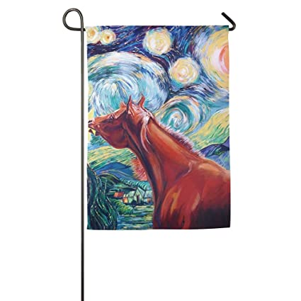 Van Gogh Starry Night Horse Garden Flag Indoor U0026 Outdoor Decorative Flags  For Parade Sports Game