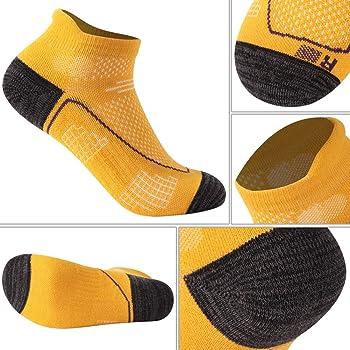 NIcool Mens Running Printing Anti-Blister Moisture Wicking Sports Cushioned Ankle Socks