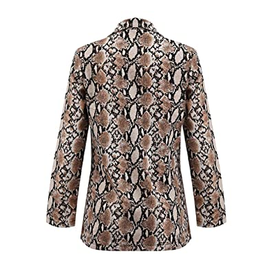 Women Snake Print Coats Duseedik Long Sleeve Suit Overcoat ...