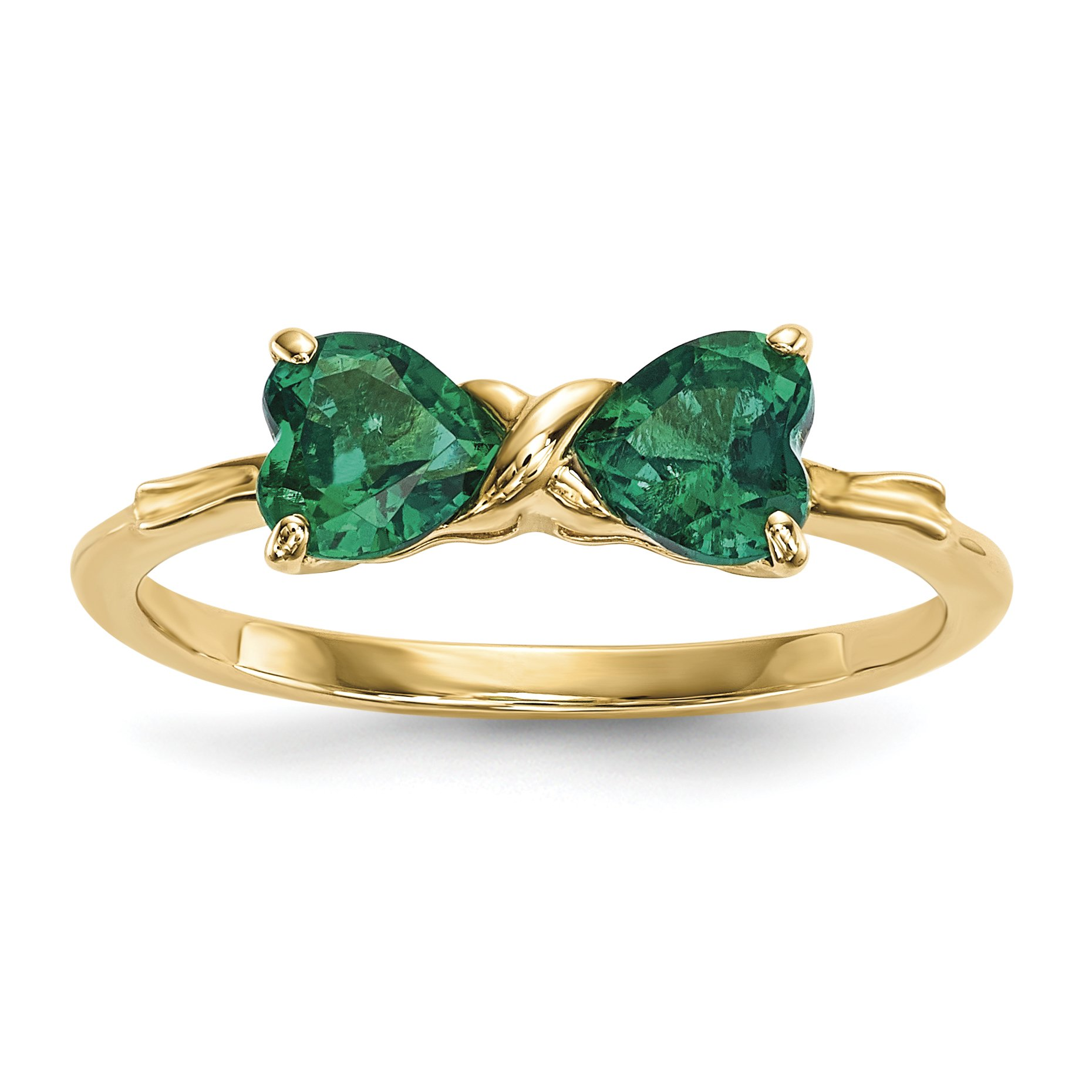 ICE CARATS 14k Yellow Gold Created Green Emerald Bow Band Ring Size 7.00 Birthstone May Set Style Fine Jewelry Gift Set For Women Heart