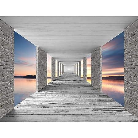 Fototapete 3D Sonnenuntergang 396 x 280 cm Vlies Wand Tapete ...