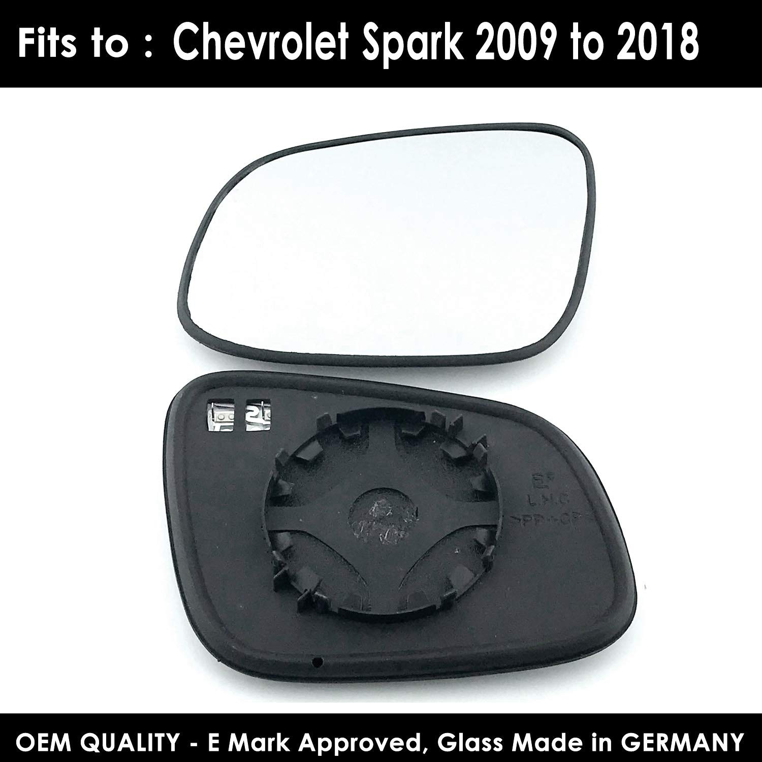Silver Mirror Glass Including Base Plate LH CHV-SparK 2009,2010,2011,2012,2013,2014 Onward Heated Passenger Side