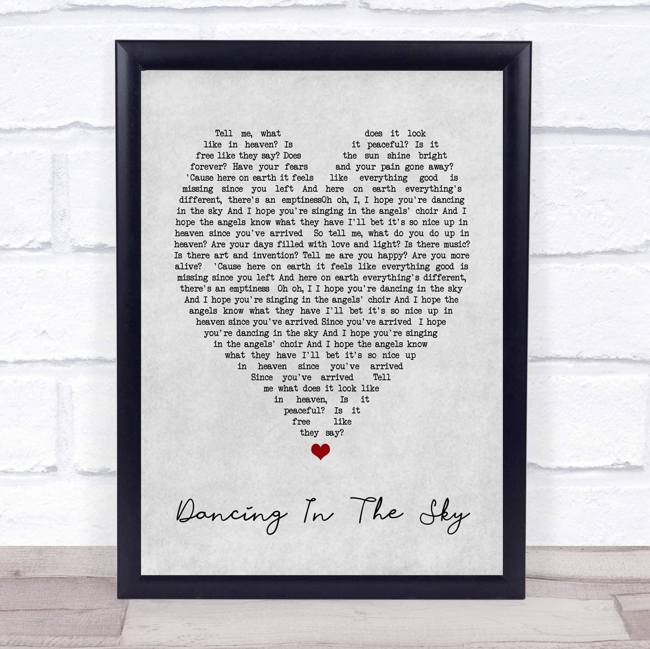 Dancing In The Sky Grey Heart Song Lyric Quote Print