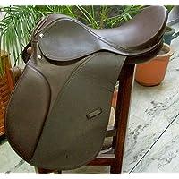 PMP - Sillín de Equitación para Caballo (Piel, 43,18 cm), Color café