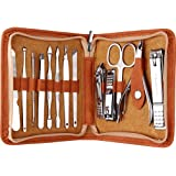 FAMILIFE F03 Manicure Set, Pedicure Kit Nail Clipper Set 13pcs Professional Men Grooming Kit Stainless Steel Portable Travel