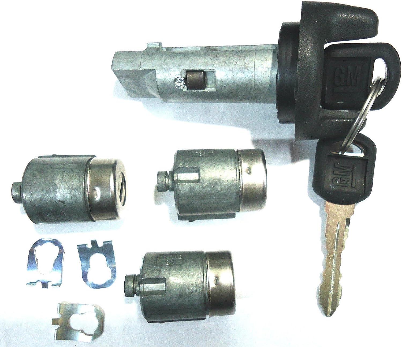 2 LOGO KEYS NEW GM OEM IGNITION SWITCH LOCK CYLINDER 2 DOOR LOCK CYLINDER