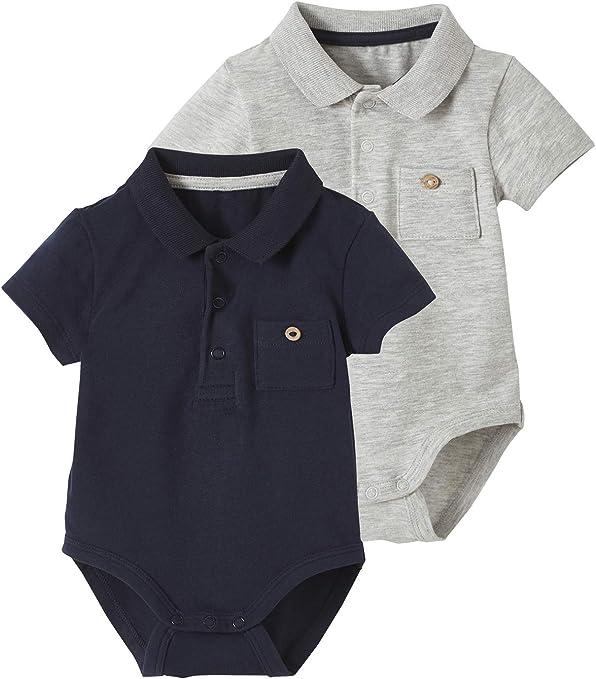 VERTBAUDET2er-Pack Baby Polo-Bodys para recién nacidos azul Pack azul nocturno. Talla:92: Amazon.es: Bebé