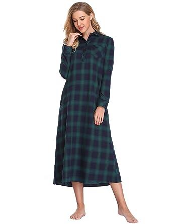 info pour 9bfec faa7a Lusofie Chemise De Nuit Dames Vêtements De Nuit en Flanelle De Coton Longue  Chemise De Nuit à Carreaux Classique