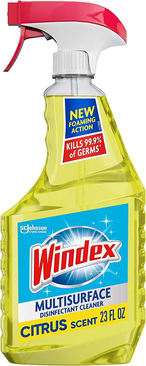 Windex Multi-Surface Cleaner and Disinfectant Spray Bottle, Citrus Fresh Scent