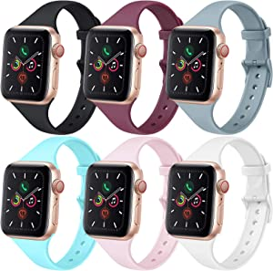 [6 PACK] Bands Compatible with Apple Watch Bands 44mm 42mm for Women Men, Slim Thin Narrow Bands for iWatch SE & Series 6 5 4 3 2 1