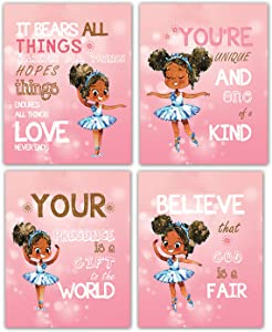 """Motivational Black Ballet Girl Wall Art Set Of 4 Kids Room Decor For Girls Posters Girls Room Decor Kids Wall Art For Girls Bedroom Decor Unframed ("""" 8x10""""Canvas Picture)"""