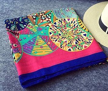 XJIH Retro cuadradas Grandes Mujeres de Toallas y Ropa de Cama de algodón - Aire Acondicionado Mantón Bufanda Toalla de Playa A02: Amazon.es: Hogar