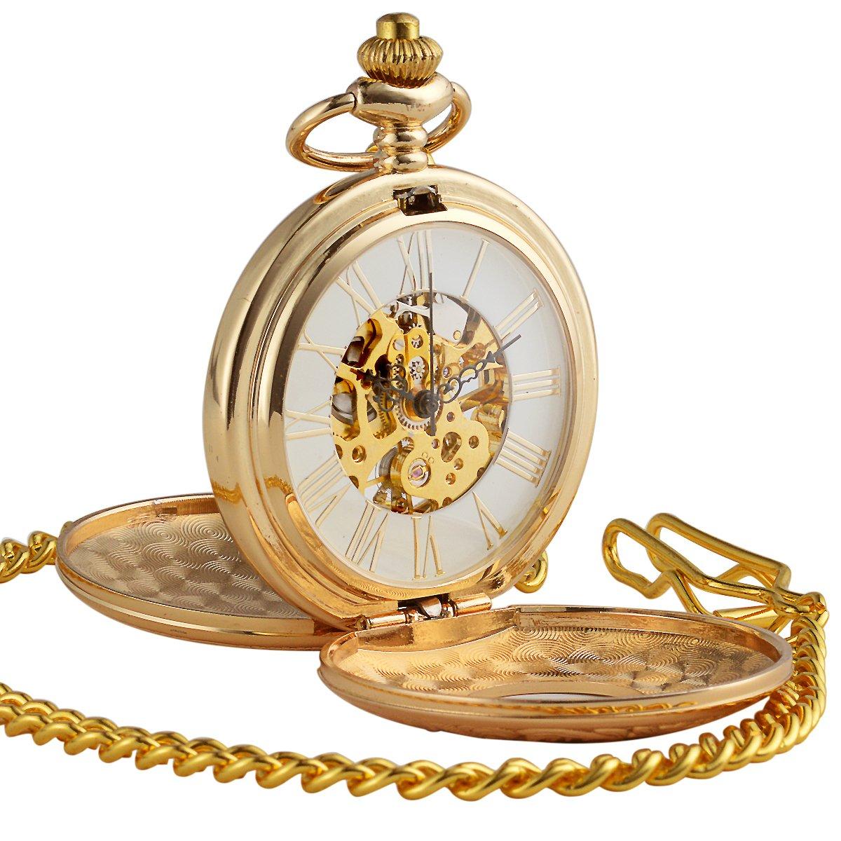 ManChDa Golden Double Hunter Case Skeleton Pocket Watch Roman Numerals Mechanical for Men Women