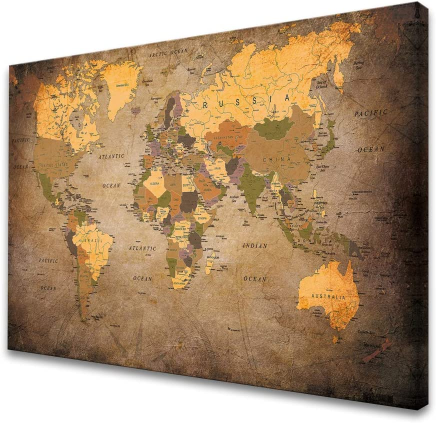 Baisuwallart-A61069 1 Piece Vintage World Map Canvas Wall Art- Ready to Hang - Home Office Decor Picture Prints for Living Room Bedroom Abstract Painting Artwork 24x36inches x1pcs