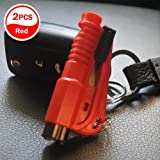 [2 Pack] Car Emergency Escape Window Break Hammer Safety Seat Belt Cutter Tool Keychain(naranja)