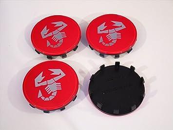 4 Tapas Llantas ABARTH 60mm centro de las tapas 500 CINQUECENTO GRANDE PUNTO EVO tapa bujes TAPACUBO LOGOTIPO ROJO: Amazon.es: Coche y moto