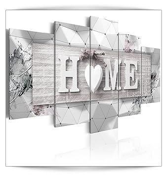 decomonkey Bilder Home 100x50 cm 4 Teilig Leinwandbilder Bild auf Leinwand Vlies Wandbild Kunstdruck Wanddeko Wand Wohnzimmer Wanddekoration Deko Haus Holz Herzen Liebe Vintage Retro