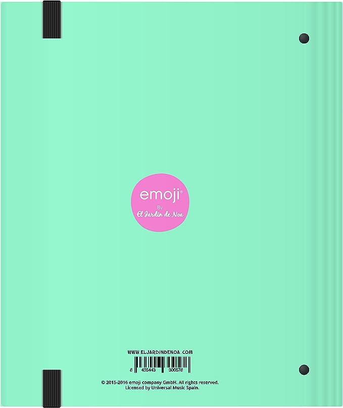 El Jardin de Noa EBN1000C - Carpeta de 4 anillas con goma: Emoji By Noa: Amazon.es: Oficina y papelería