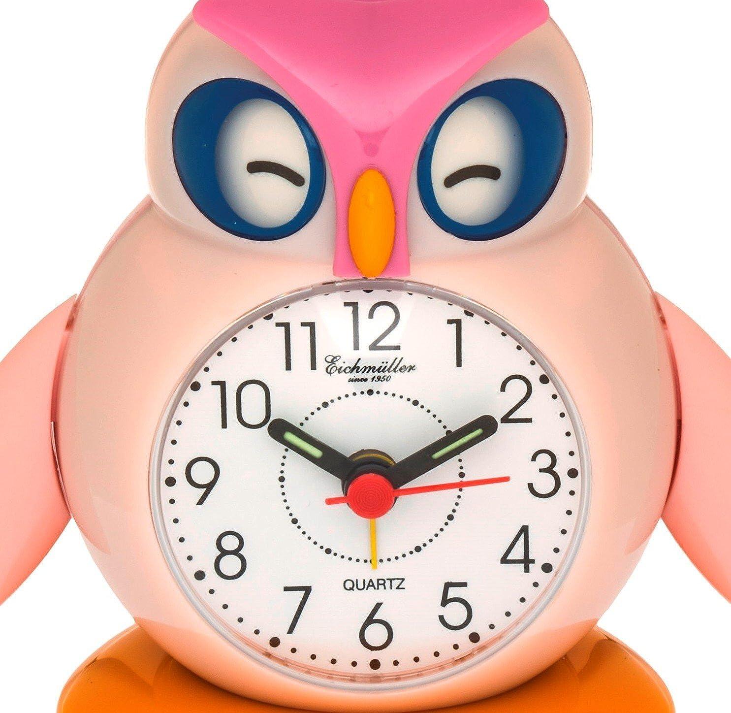 Eichm/üller Kinderwecker Eule rosa Analogwecker mit Alarm Snooze und Licht