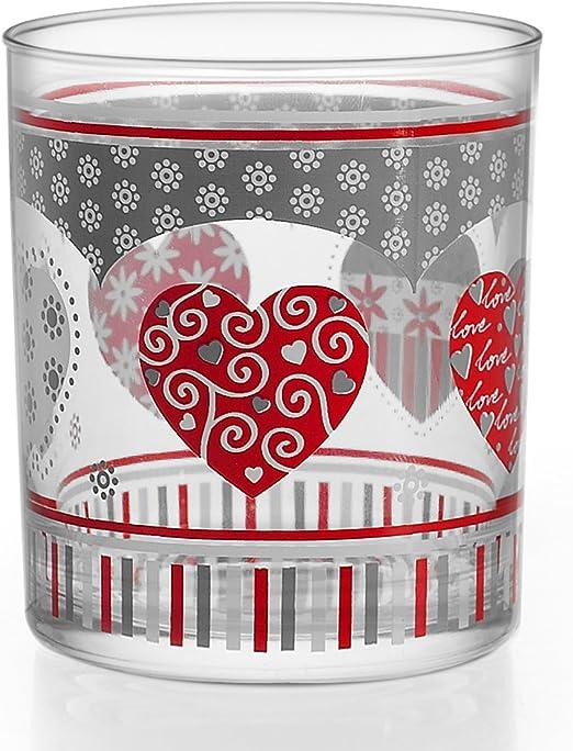 HOME Vasos Agua de 220 ml, diseño Love, Pack de 3 Unidades, Cristal, Transparente/Multicolor: Amazon.es: Hogar