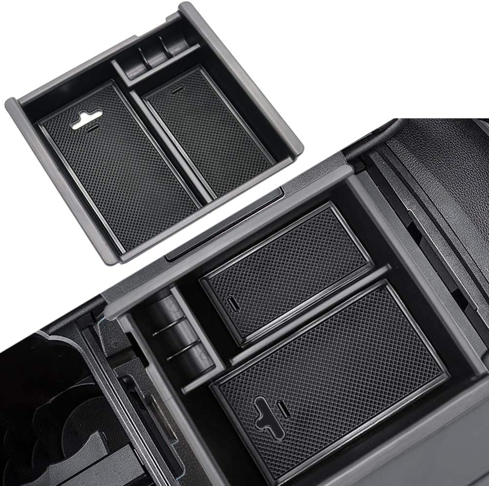 Secondary Storage Armrest Box Toyota Tacoma Accessories Trooer 001 Black one Size Compatible with 2016-2019 2020 Center Console Organizer Insert ABS Materials Tray