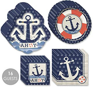 product image for Big Dot of Happiness Ahoy Nautical - Party Tableware Plates, Napkins - Bundle for 16