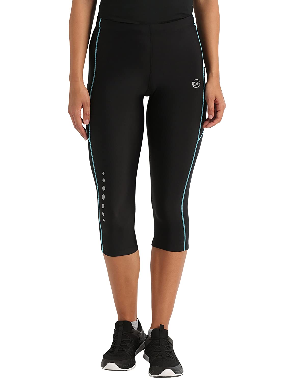 Ultrasport Advanced Damen Sporthose, Laufhose 3/4 lang, Fitnesshose mit Kompressionswirkung, Quick Dry, Kontrast-/Flachnähte, Reflective Prints, justierbarer Bund und Schlüsseltsche mit Reißverschluss