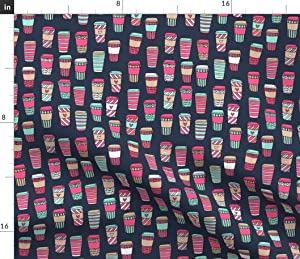Spoonflower Fabric - Coffee Pink Mint Navy Latte Printed on Petal Signature Cotton Fabric by The Yard - Sewing Quilting Apparel Crafts Decor