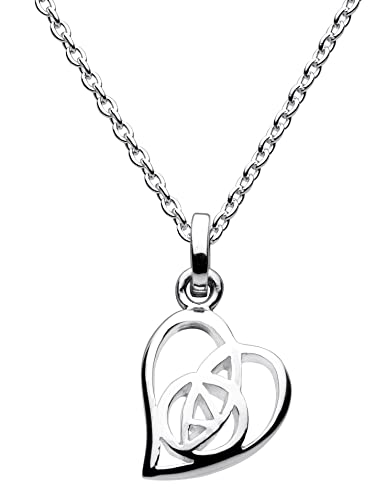 Heritage Sterling Silver Mackintosh Open Rose Heart Necklace of Length 45.7 cm ykJUi