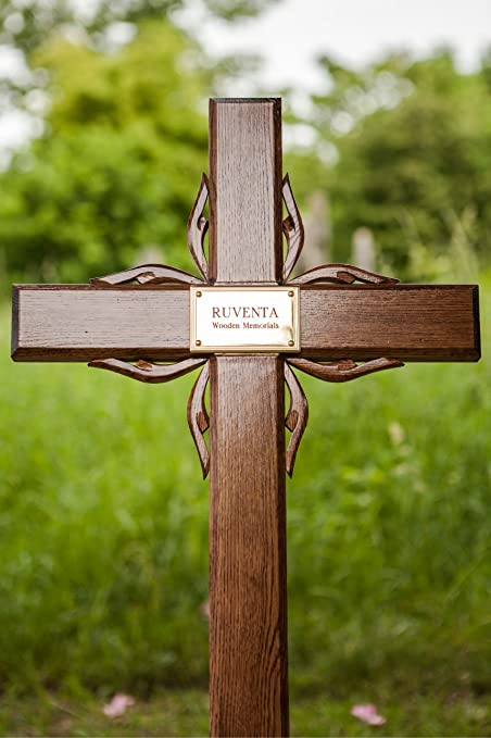 40 Solid Oak Wooden Memorial Cross Grave Marker With Personalised