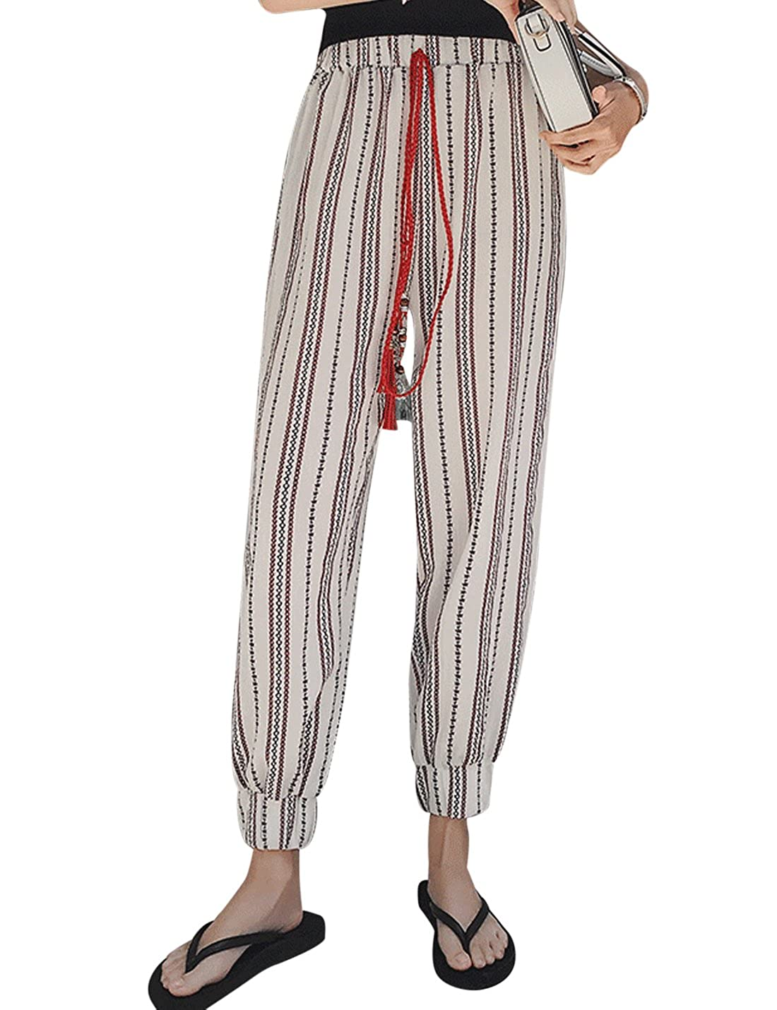 8f2077cb7c2 Uaneo Women s High Stretch Waist Stripe Flowy Palazzo Long Harem Pants with  Drawstring at Amazon Women s Clothing store