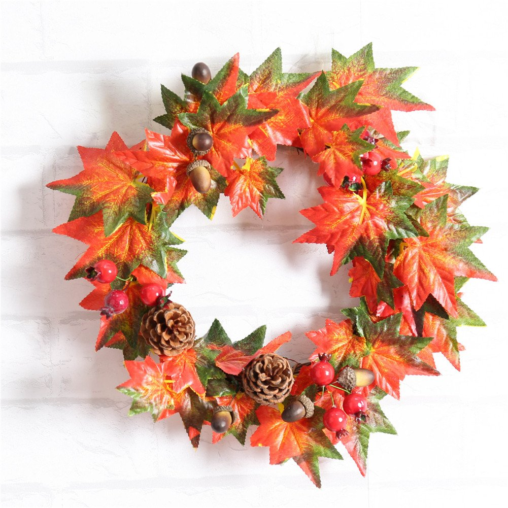 Yunhigh Autumn Leaves Hanging Christmas Wreaths Garlands Round