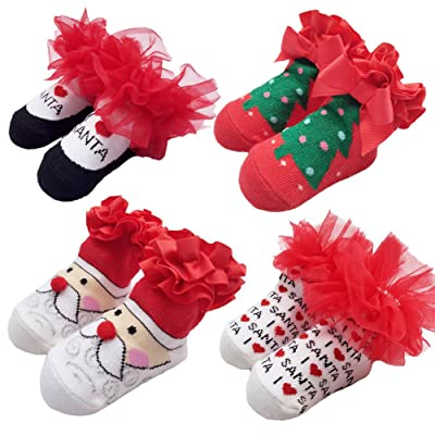 4 Pair Christmas Socks for Baby Girls, Packed with Christmas Gift Bag